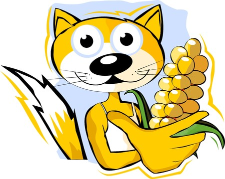 maize: Illustration of a cat holding maize in hand Stock Photo
