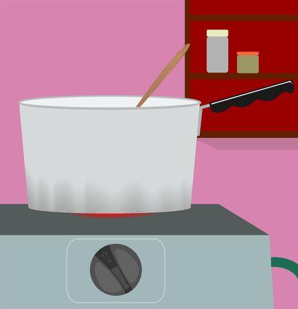 Illustration of preparing food in a gas stove illustration