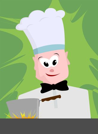 Illustration of a cook in kitchen, Stock Illustration - 4050414