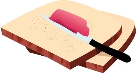 Illustration of bread and jam in a knife illustration