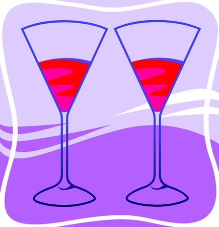 Illustration of two goblets with red wine illustration