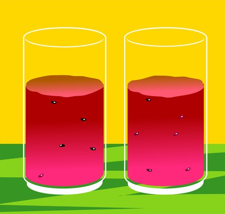 Illustration of two glasses of water melon juice illustration