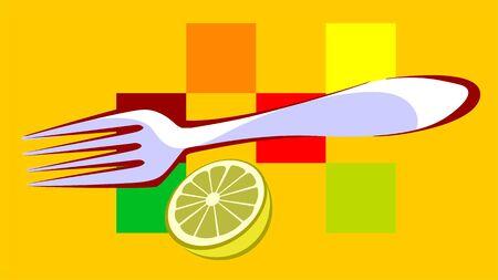 Illustration of fork, and lemon, illustration