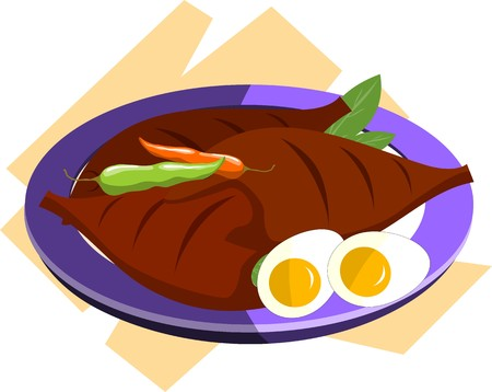 gravy: lustration of meat chillies and egg in a plate