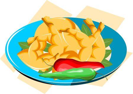 Illustration of Prawns chilli leaf in a blue plate illustration