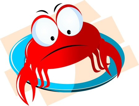 Illustration of a cartoon crab in a blue plate illustration