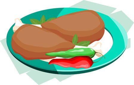 viandes et substituts: Illustration de deux peaces de feuilles de piment, de viande dans un plat Banque d'images