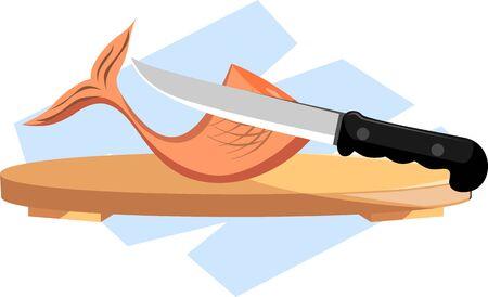 viandes et substituts: Illustration de poissons a �t� coup�e par un couteau