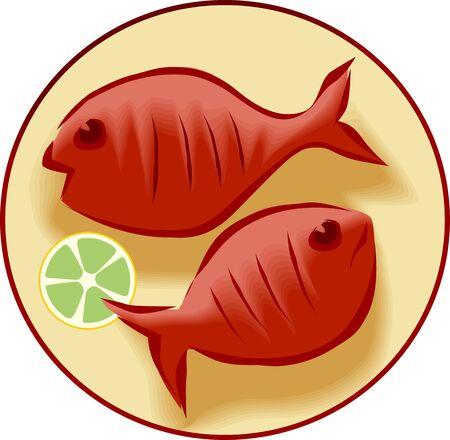 viandes et substituts: Illustration de fruits de mer frais et d'un citron dans un plat de paix Banque d'images