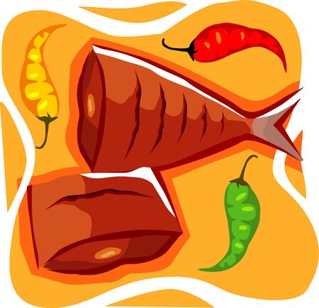 viandes et substituts: Illustration de deux poissons de la paix et de piment