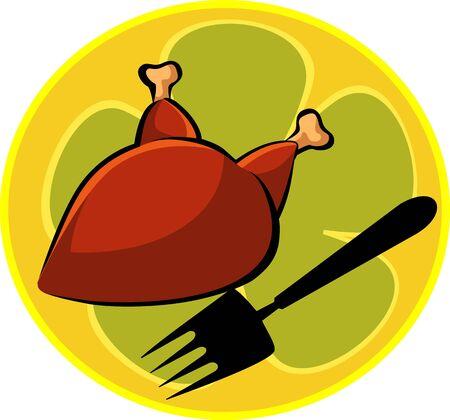 viandes et substituts: Illustration de poulet chaud et de la fourche Banque d'images