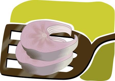 viandes et substituts: Illustration de deux morceaux de poisson et � la cuill�re