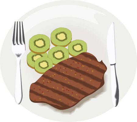 viandes et substituts: Illustration de la cuill�re couteau poulet et l�gumes