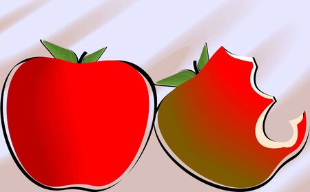 Illustration of an apple and a bitten apple Stock Illustration - 4050484