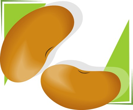 Illustration of two beans in green background Stock Illustration - 4050469