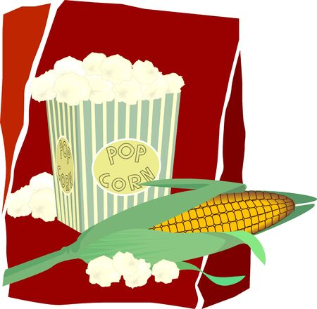 show plant: Illustration of a pop corn and Indian corn in red background