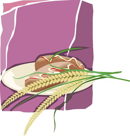 Illustration of wheat in a plate with violet background illustration