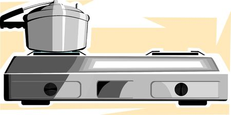 Illustration of a silver color stove and a pressure cooker