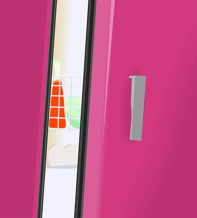 Illustration of red fridge has been opened illustration