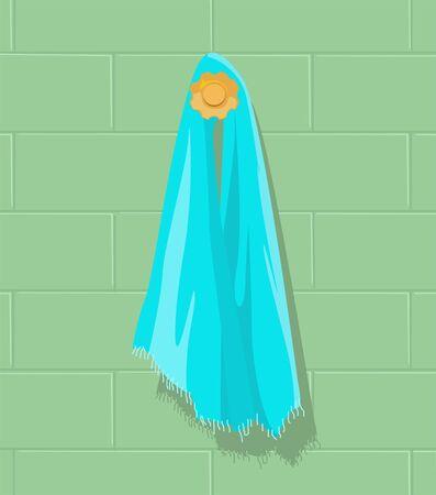 Illustration of a blue towel on the hanger illustration