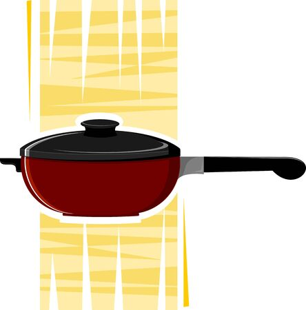 stockpot: Illustration of a casserole with yellow shade background Stock Photo