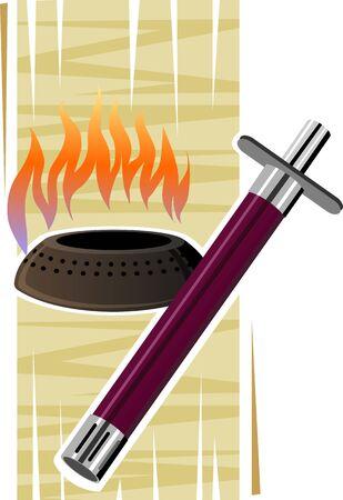 lighter gas: Ilustraci�n de un encendedor de gas y fuego en la estufa quemador Foto de archivo