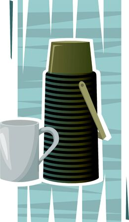 Illustration of a thermos flask and cup in green background