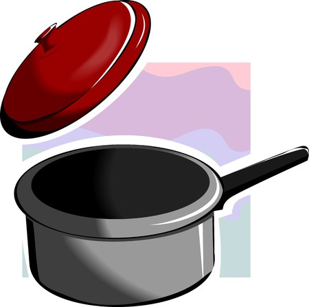 casserole: Illustration of a casserole and its cover Stock Photo