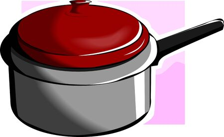 stockpot: Illustration of a silver metallic casserole with violet background Stock Photo