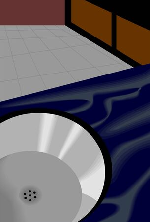 Illustration of a tap and basin in the kitchen