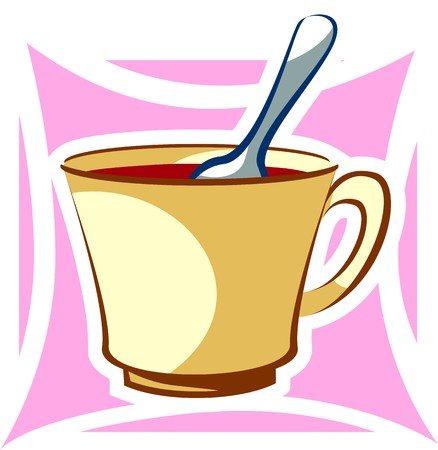 tiredness: Illustration of a cup of tea and spoon Stock Photo
