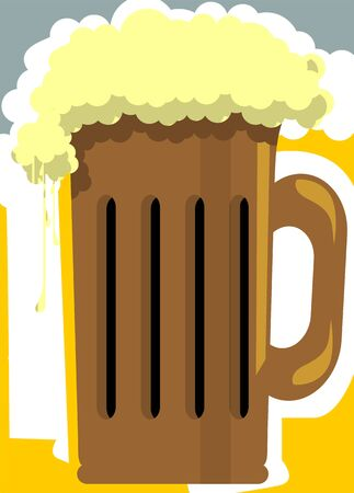 overflowing: Illustration of two beer mug overflowing Stock Photo