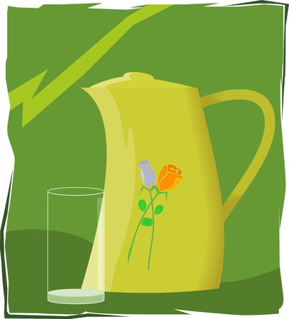 hydrate: Illustration of jug and a glass