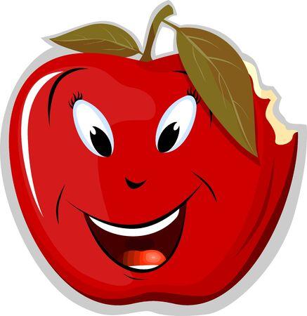 Illustration of a cartoon apple bitten
