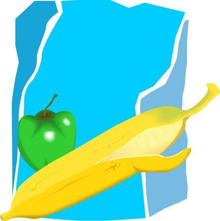 capsicum: Illustration of banana and capsicum
