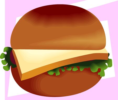 Illustration of hamburger in pink background illustration