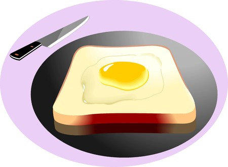 browned: Illustration of bread, egg and knife