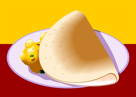dosa: Illustration of dosa and curry in a plate Stock Photo