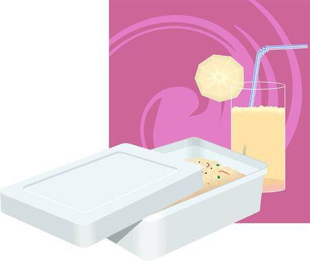 chutney: Illustration of juice with Tiffin box