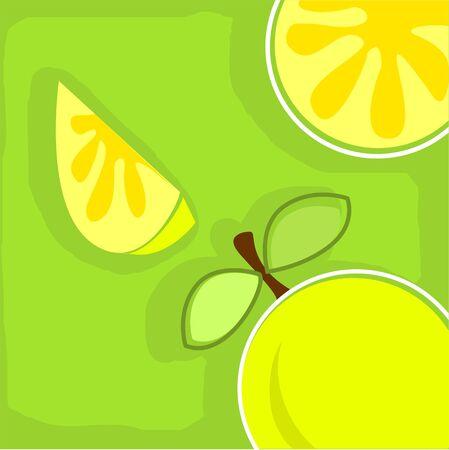 Illustration of lemons in a green background Stock Illustration - 4068835