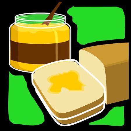 검정과 녹색 디자인에서 빵과 잼 박스의 그림