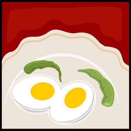 viandes et substituts: Illustration de deux oeufs peaces et piments dans un plat Banque d'images