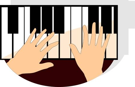 rehearsal: Illustration of hands playing piano buttons
