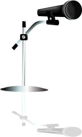 Illustration of a Wireless microphone with shadow illustration
