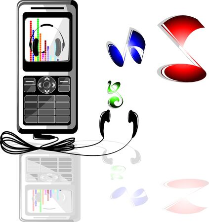 Illustration of music notes mobile and head phone illustration