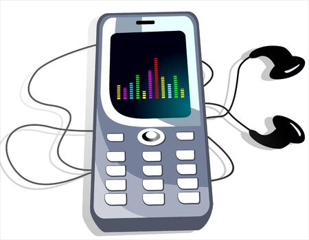 Illustration of mobile phone and head phone Stock Illustration - 4088088