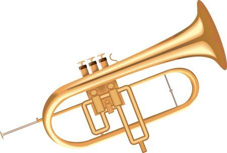 Illustration of a golden metallic bugle