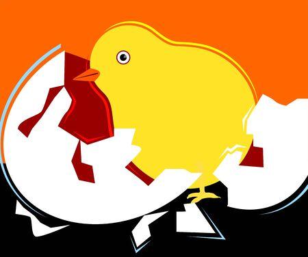Illustration of chicken being born Stock Illustration - 4088085