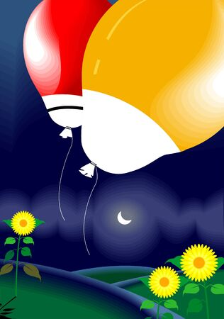 Illustration of two balloons, moon and flowers illustration