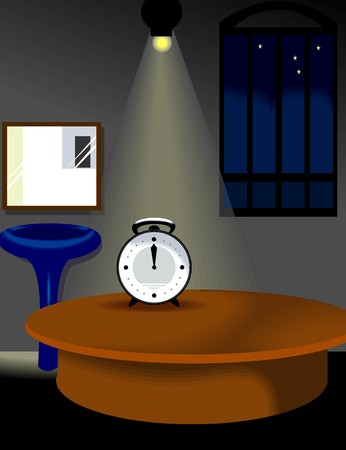 Illustration of clock table and light with background illustration